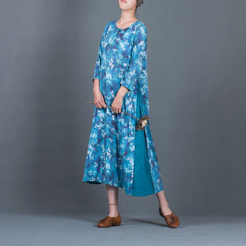 Straight Round Mid 3/4-Length Sleeve Print Patchwork Linen Dresses