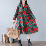 A-line High Neck Mid Long Sleeve Print Pockets Plus Size Dresses