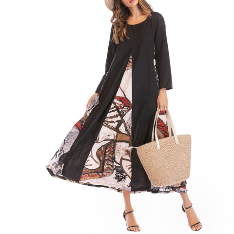 A-line Round Long Sleeve Print Patchwork Pockets Plus Size Dresses