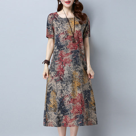 Straight Round Mid Short Sleeve Print Pockets Plus Size Dresses
