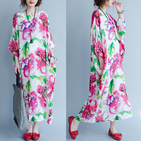 Straight Round Maxi 3/4-Length Sleeve Print Pockets Plus Size Dresses