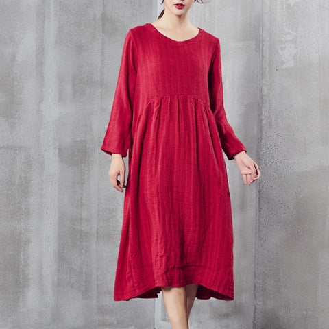 A-line V-neck Mid Long Sleeve Solid Linen Dresses