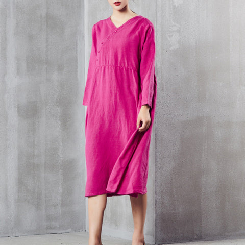 A-line V-neck Mid Long Sleeve Solid Button Linen Dresses