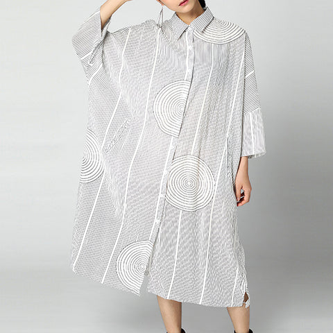 Straight Turndown Neck Mid Long Sleeve Print Button Plus Size Dresses
