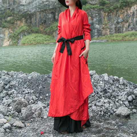 Straight V-neck Maxi Long Sleeve Solid Pockets Sashes Bow Linen Dresses