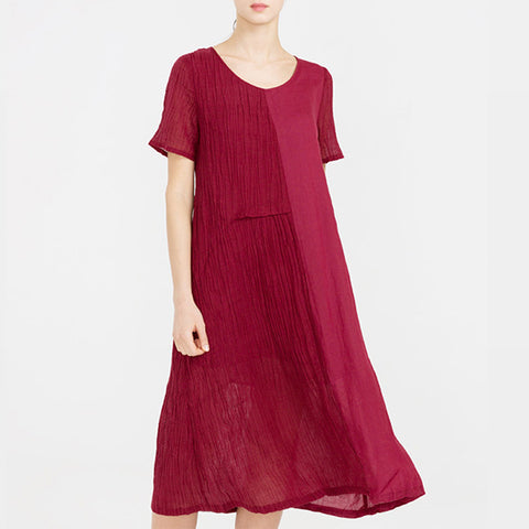 Straight Round Mid Short Sleeve Patchwork Linen Dresses