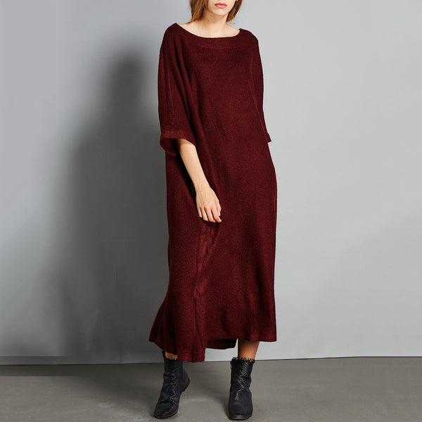 Cocoon Round Mid 3/4-Length Sleeve Solid Pockets Plus Size Dresses