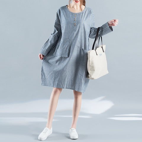 Cocoon Round Knee Length Long Sleeve Solid Striped Button Pockets Linen Dresses