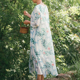 Straight Round Maxi 3/4-Length Sleeve Print Linen Dresses