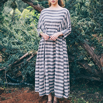 A-line Round Maxi 3/4-Length Sleeve Striped Lace-Up Plus Size Dresses