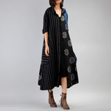 A-line Turndown Neck Mid Long Sleeve Patchwork Striped Button Pockets Plus Size Dresses