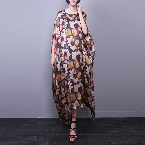 Asymmetrical Straight Round Mid Half Sleeve Print Plus Size Dresses