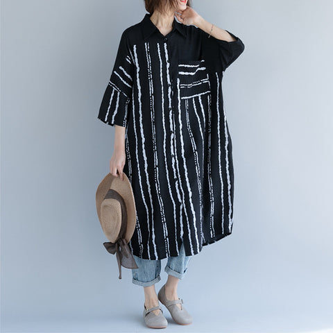 Straight Turndown Neck Mid 3/4-Length Sleeve Striped Plus Size Dresses