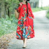 A-line Round Mid Long Sleeve Print Linen Dresses