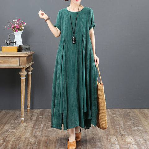 A-line Asymmetrical Round Maxi Short Sleeve Solid Linen Dresses