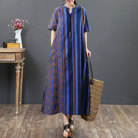 Straight Round Mid Short Sleeve Print Striped Pockets Linen Dresses
