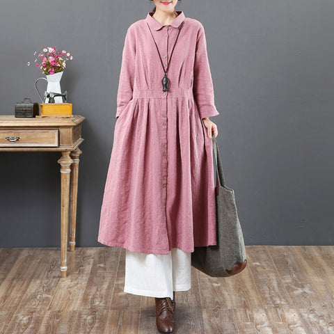 A-line Turndown Neck Mid Long Sleeve Solid Button Pockets Linen Dresses