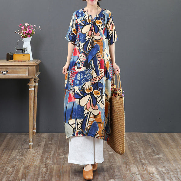 Straight V-neck Mid Short Sleeve Print Linen Dresses