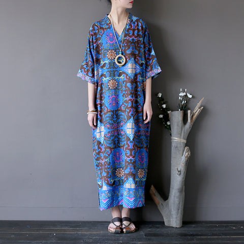 Straight V-neck Mid Half Sleeve Print Linen Dresses