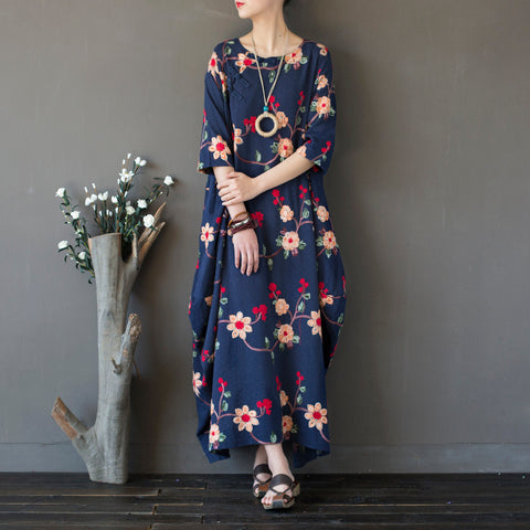 Cocoon Round Maxi 3/4-Length Sleeve Print Linen Dresses