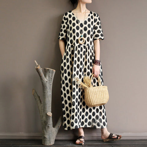A-line V-neck Mid Short Sleeve Pattern Linen Dresses