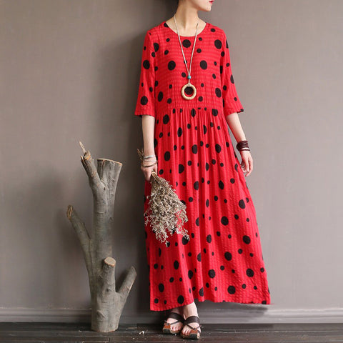 A-line Round Maxi Half Sleeve Pattern Linen Dresses