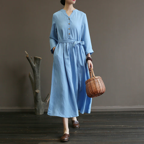 Straight V-neck Mid Long Sleeve Solid Button Pockets Sashes Bow Linen Dresses