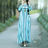 A-line Round Maxi Long Sleeve Striped Linen Dresses