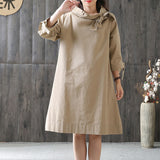 Straight Cowl High Neck Knee Length 3/4-Length Sleeve Solid Lace-Up Bow Plus Size Dresses