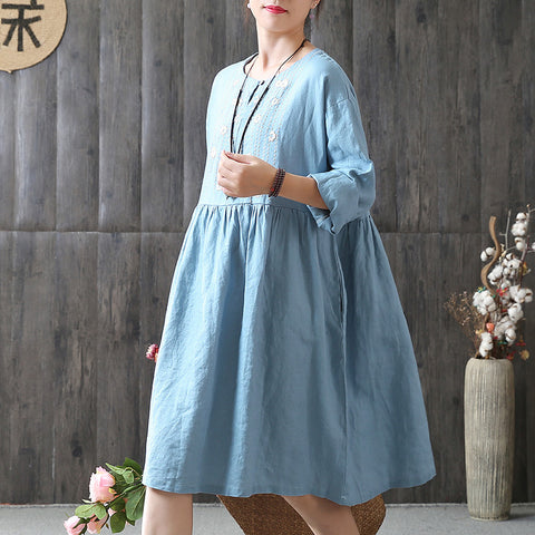 A-line Round Knee Length Long Sleeve Solid Appliques Plus Size Dresses