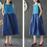 A-line Round Mid Sleeveless Patchwork Plus Size Dresses