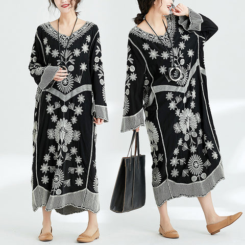 Straight V-neck Mid Long Sleeve Embroidery Plus Size Dresses