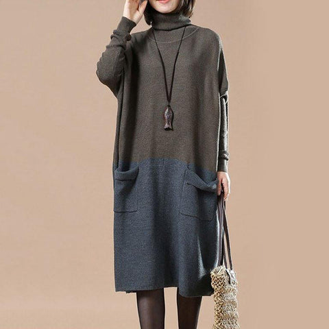 Straight High Neck Mid Long Sleeve Patchwork Pockets Plus Size Dresses