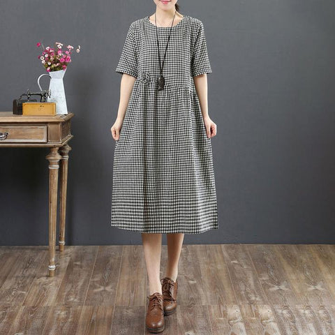 A-line Round Knee Length Half Sleeve Plaid Button Linen Dresses