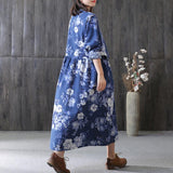 A-line Round Mid Long Sleeve Print Pockets Linen Dresses
