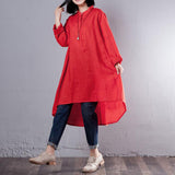High Low High Neck Knee Length Long Sleeve Solid Button Plus Size Dresses
