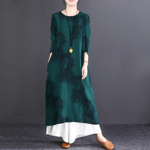 Straight Round Mid Long Sleeve Print Pockets Linen Dresses