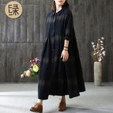 A-line Turndown Neck Mid Long Sleeve Plaid Button Plus Size Dresses