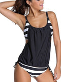 Black Casual Striped Tankinis