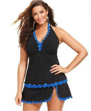 Black Formal Solid Ruffles Plus Size Swimwear