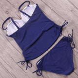 Royal Blue Formal Solid Lace-Up Tankinis