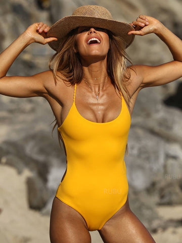 Yellow Simple Fashion Solid One-Pieces