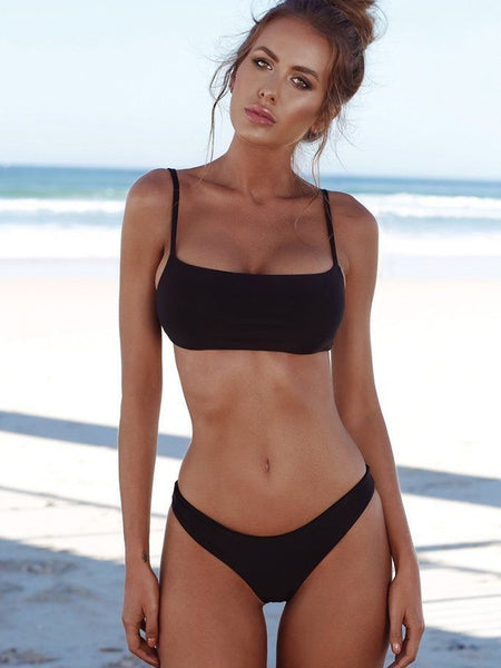 Black Simple Solid Bikinis