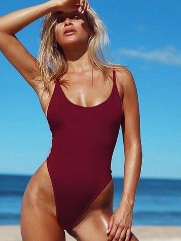 Wine Red Simple Sexy Solid One-Pieces