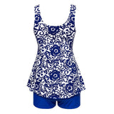 Royal Blue Formal Print Lace-Up Bow Plus Size Swimwear