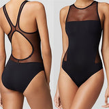 Black Formal Solid Hollow Out One-Pieces