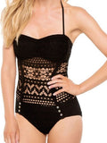 Black Fashion Solid Hollow Out One-Pieces