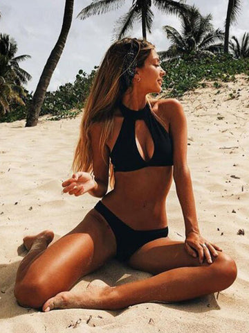 Black Sexy Solid Hollow Out Bikinis