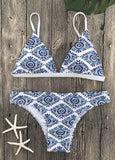 Blue Fashion Print Bikinis