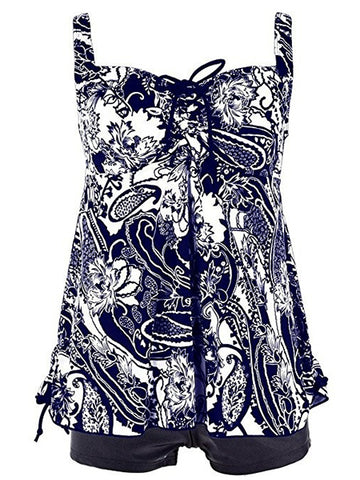 Dark Blue Formal Print Lace-Up Plus Size Swimwear